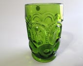 Vintage Green Smith Glass Co. 11 oz Flat Tumbler, Moon and Stars Water Glass, Item No. 4222, Dark Green, L. E. Smith Moon & Stars, NEW!!