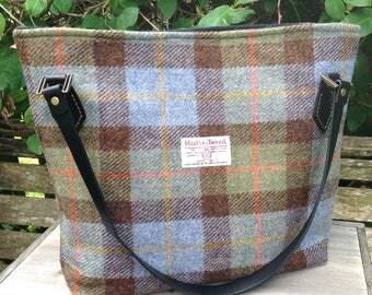 Large harris tweed shoulder tote bag in MacLeod tweed.