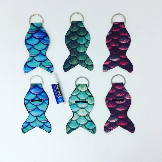 Mermaid keychain, Lip Balm Key Ring Holder, Chapstick keychain, Flash Drive USB holder, Sublimated design, Personalize
