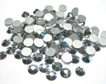 100pcs Silver Glass Flat back Rhinestone -A Grade SS30(6mm)No-Hotfix