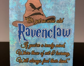 Canvas Panel Wall Art inspired by Sorting Hat Quotes describing Hogwarts' House Attributes