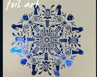 "New 8""x10"" Foil Art!  Dr. Who Inspired Unique Damask Design"