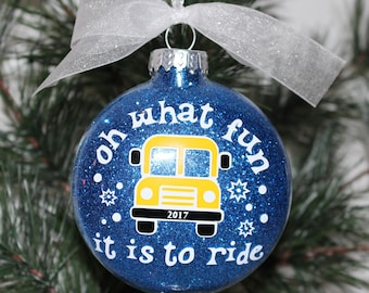 Bus Driver Ornament.  Bus Driver Christmas Ornament. Driver Christmas Ornament. Bus Driver Glass Ornament Gift