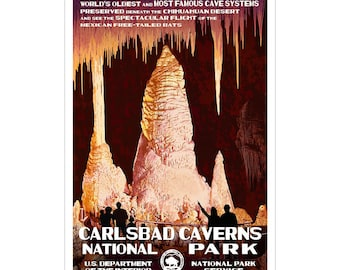 """Carlsbad Caverns National Park WPA-style poster. Color. 13"""" x 19""""  Original artwork, signed by the artist!"""