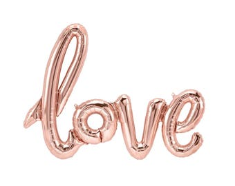 Rose Gold LOVE Script Balloon, Engagement Party Decor, Engagement Photo Prop, Wedding Balloon, Letter Balloon Banner, Rose Gold Wedding