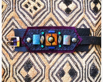 The SHIELD BRACELET by Gilded-Mane: Mother of Pearl, Turquoise, Sodalite & Pyrite on Brown/Plum/Snakeskin Leather