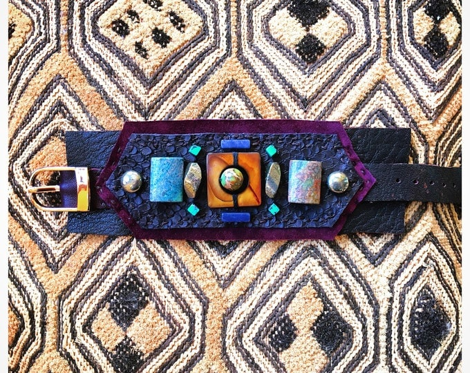 Featured listing image: The SHIELD BRACELET by Gilded-Mane: Mother of Pearl, Turquoise, Sodalite & Pyrite on Brown/Plum/Snakeskin Leather