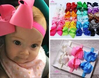 Baby Headband Bows - Baby Girl headband - hair bows -  Baby Headband Set - Baby Bows - hair bows for babies - 4 inch bows - baby hair bows