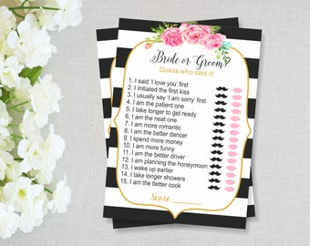 Kate Spade Bridal Shower Games, He Said or She Said Game, INSTANT DOWNLOAD, Bridal Shower Activities, Printable Games, Shower Games