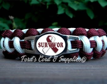 Head & Neck Cancer, Throat Cancer, Laryngeal Cancer, Pharyngeal Cancer, Oral Cancer SURVIVOR Awareness Bracelet, Paracord Bracelet, Gift