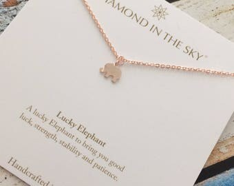 Lucky Rose Gold  Elephant Necklace on Gift Card