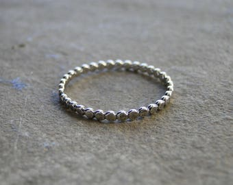 Beaded Ring, Beaded Stacking Ring, Stacking Ring, Stacker Ring, Sterling Silver, Silver Stacking Ring, Minimalist Ring, Minimalist Jewelry