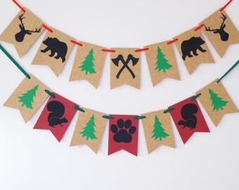 Woodland banner, Wild one birthday party, Baby shower, home decoration, Nursery gift