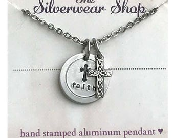 Stamped Aluminum Necklace Faith Jewelry Personalized Pendant Bridesmaid Jewelry,  Cross Charm Jewelry Gifts For Her Gifts Under 20