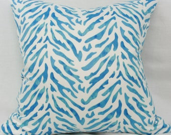 Blue & white pillow cover.  Waverly Reef twill decorative pillow cover 20x20 pillow cover Coastal pillow Seaside pillow Blue white cushion