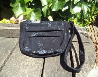 Black floral jeans fanny pack,hip bag,belt bag