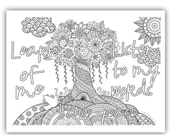 "2018 Mutual Theme Coloring Page 8.5""x11"" - Tree w/sun learn of me listen to my words have peace in me"