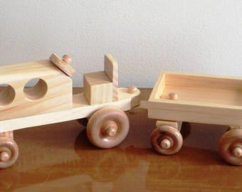 Wood Farm Tractor and Hay Wagon