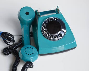 Teal Vintage Rotary Telephone, Retro Phone, Bright Vintage Phone, Old Working Phone for Vintage Decor, Vintage Electronics, 80's Home Decor