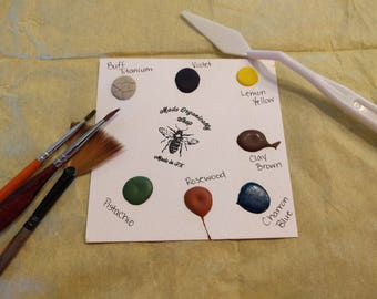 7 Dot Sample Card, Handmade Water Colors, Travel Artist