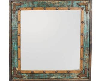 El Paso Rustic Mirror-31x31 inches-Handmade-Wall Mirror-Spanish-Western-Turquoise-Vanity-Primitive