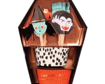 Halloween Cupcake Kit, Meri Meri Halloween Cupcake Liners, Halloween Cupcake Toppers, Halloween Party, Preschool Halloween Treat
