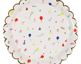 Party Icon Large Scalloped Plates (Set of 8) Meri Meri Large Plates, Birthday Party Decor, Party Supplies, Party Hats and Balloons, Cake