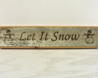 Let It Snow Barnwood Door Topper