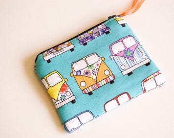 Handmade Fabric Zipped Coin/Change Purse Fully Lined - Kids - Ladies - Gift - Funky/Retro Campervans