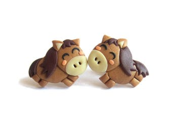 Horse Earrings, Brown Earrings, Stud Earrings, Polymer Clay Earrings, Animal Earrings, Animal Jewelry Funny Earrings Kawaii Earrings Omifimo