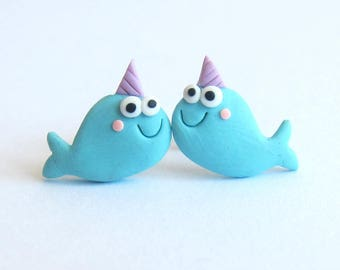 Narwhal Earrings, Narwhal Jewelry, Unicorn Earrings, Polymer Clay Jewelry, Blue Earrings Funny Earrings, Stud Earrings, Nautical Jewelry Emo