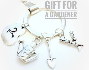 Gardener's keyring, Garden Keychain, Gift for gardener, garden charm Keyring, garden lover's gift, Mother's Day Gift, Gift for Mom