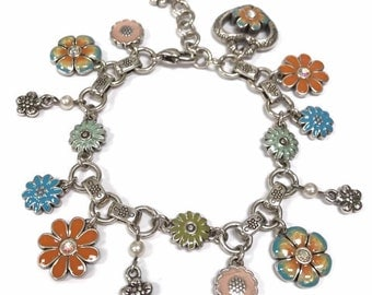 Brighton flower bracelet enamel flower lime teal orange bloom from within vintage retired