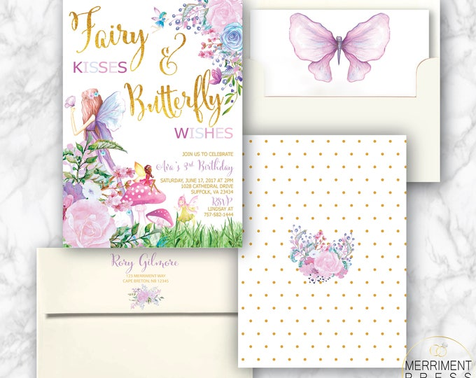 Fairy Birthday Invitation // Fairies and Buterflies // Any Age // Gold // purple // Floral // pink // Watercolor // ANN ARBOR COLLECTION
