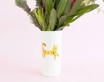 Nimerah Tiger big vase - orange stripe big cat ceramic tumbler