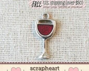 ADD A CHARM - Wine Glass Charm, Red Wine Charm, Wine Glass Charm with Red Enamel