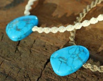 Howlite Macrame Pendant / Adjustable Macramé Turquoise Tumble Stone Necklace / Knotty Knotty Macrame