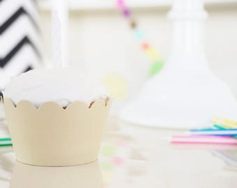 SAND BEIGE Cupcake Wrappers - Set of 32