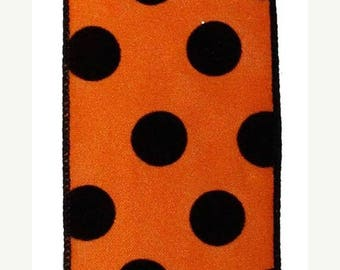 "SALE 2.5""x10yd polka dot wired ribbon, orange wired ribbon, black wired ribbon, orange and black Halloween wired ribbon, polka dot ribbon, r"