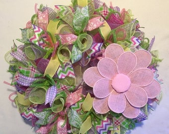 Sale Spring wreath, spring wreaths, wreath, mesh spring wreath, spring door decor, summer wreath, summer door decor, summer, spring, wreath