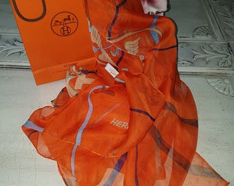 Authentic HERMES Mousseline Chiffon Shawl Scarf Pure Silk