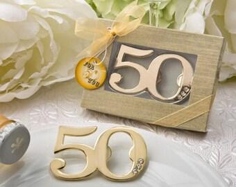 20-72 50th Design Golden Bottle Opener - Anniversary Birthday Party Favor   4235