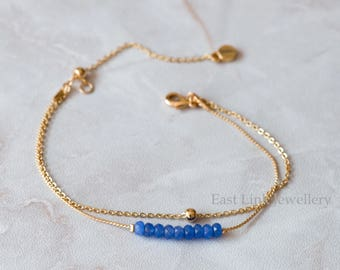 Handmade petite style 14K Gold plated natural stone sapphire blue September birthstone bracelet birthday gift beaded chain bracelet