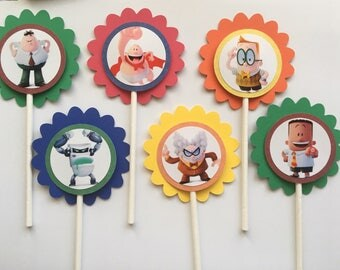 Captain Underpants Cupcake Toppers