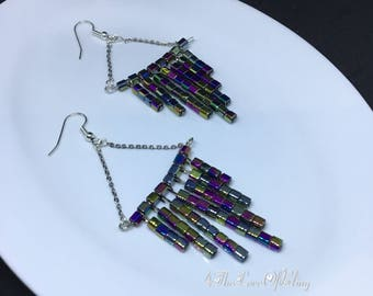Metallic Rainbow Chandelier | Waterfall Earrings made with Czech Beads and Nickel free / silver plated earring findings