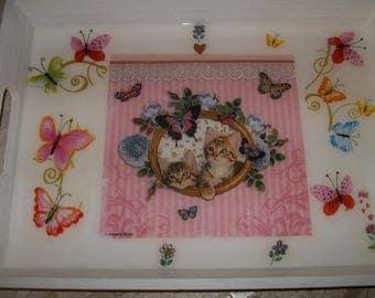 """""""Tray handmade pattern"""" cats """""""