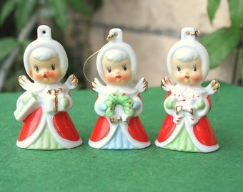 Vintage Christmas Baby Angel Girl Bells Trio Ornaments Japan 1950s Figurines Decorations Collectibles