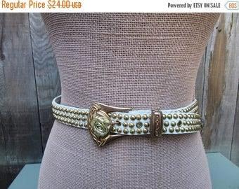 On Sale Studded White Leather Belt Rose Buckle 90s 80s 1990s 1980s Vintage Fits 26  to 30 Waist