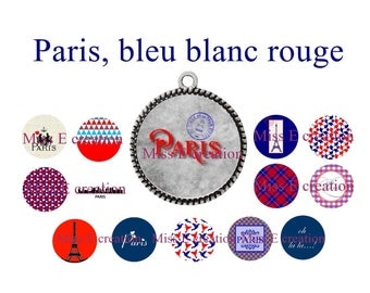 Red white blue Paris print of digital images for cabochon 25mm and 20mm and 18mm