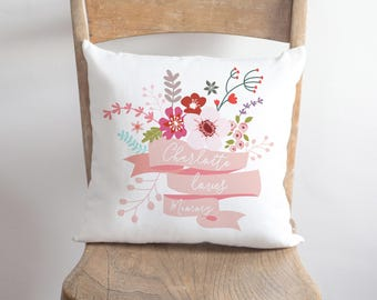 Mummy Floral Cushion, Sofa Pillow Printed With Flowers, Mother's Day, 40x40mm, 16Inch, Mother Day, Mum Cushion, Floral Design  (OHSO963)